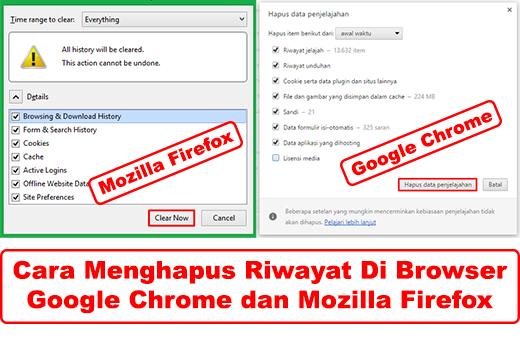 Cara Menghapus Riwayat di Browser Mozilla dan Chrome 5