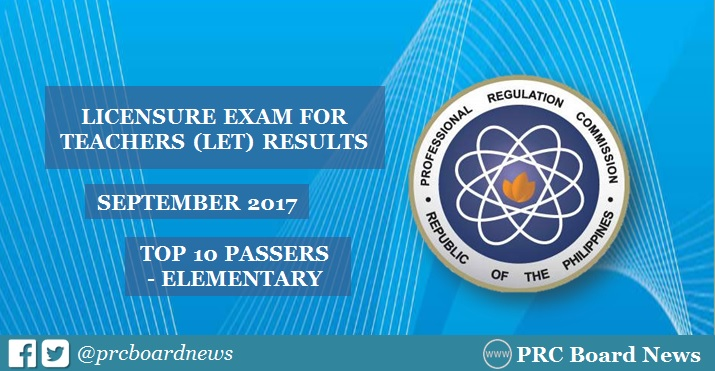 PRC RESULT: Top 10 September 2017 LET Elementary