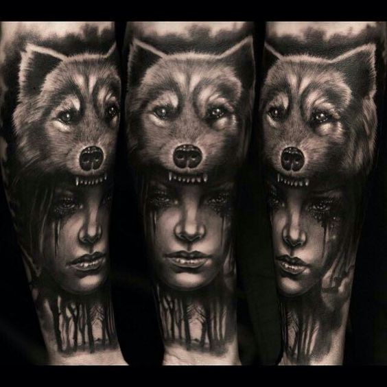 tatuaje de Cabeza de India con lobo