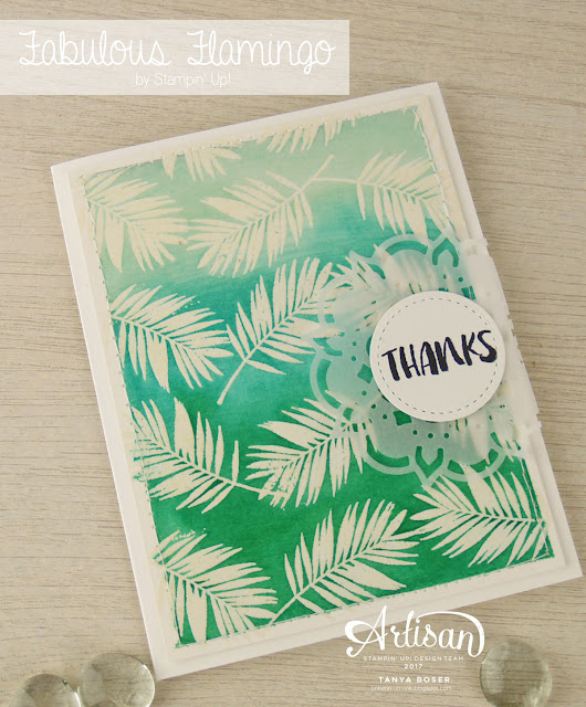 Stampin' Up!'s Fabulous Flamingo has more than big pink birds to play with! These leaves are Clear heat embossed on watercolor paper, then an Aqua-painter is used to apply Soft Sky, Bermuda Bay, and Emerald Envy. After the panel is dry, a damp cloth is wiped over the embossing to remove extra ink.- Tanya Boser