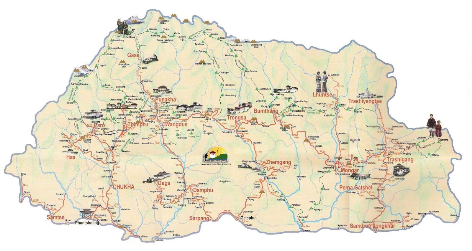 Butão | Mapas Geográficos do Butão