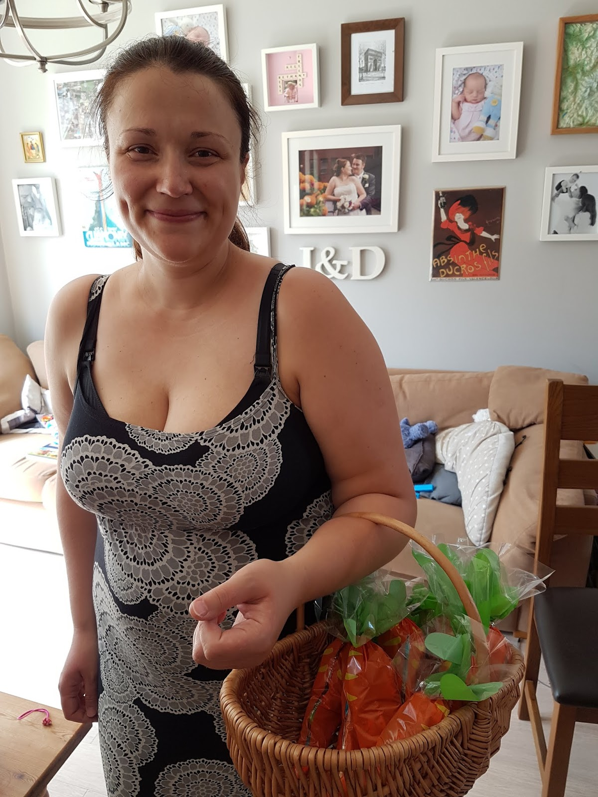 woman holding carrot party bags