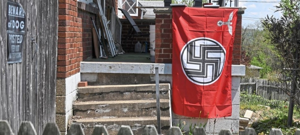 Nazi swastika flag in West Mifflin, Pittsburgh Mr Rogers Neighborhood