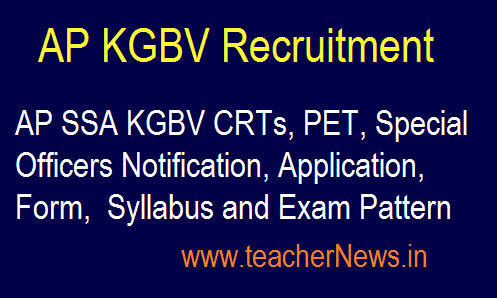 AP SSA KGBV Recruitment 2019 - KGBV CRTs, PET, Special Officers Syllabus and Exam Pattern