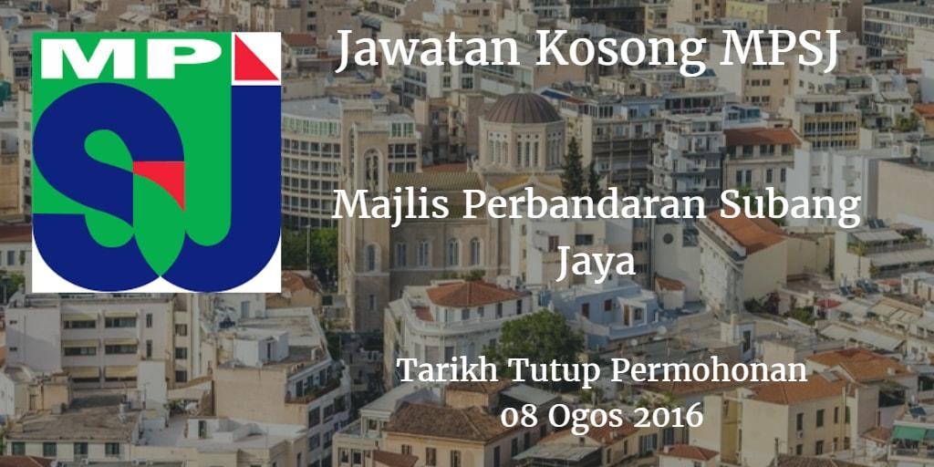 Jawatan Kosong MPSJ 08 Ogos 2016