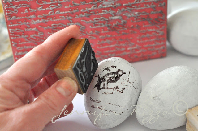 How to hand stamp paper mache eggs