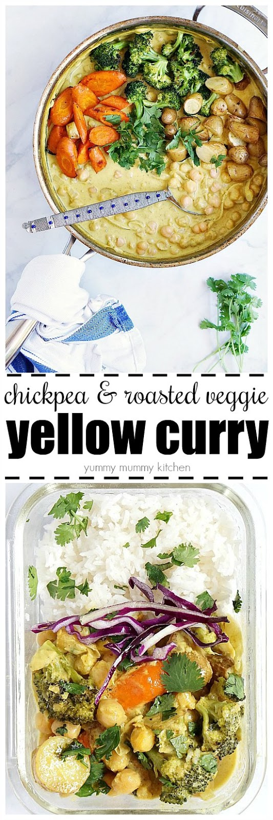 This easy yellow curry with coconut chickpeas and roasted vegetables is such a delicious vegan dinner.