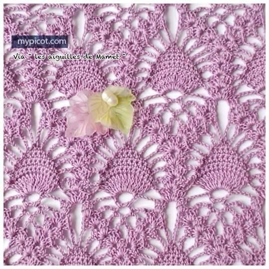 Patrón #1229: Punto Calado Pavo Real a Crochet