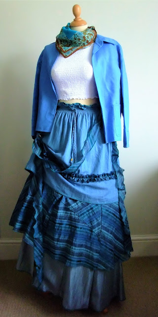 Blue & Grey Victoriana Tiered Skirt by Karen Vallerius