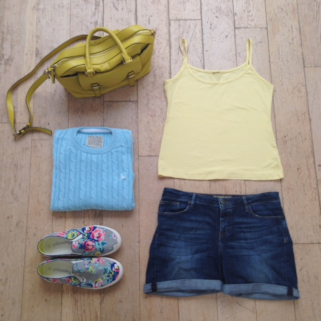 What Lizzy Loves. Baby blue jumper, lemon vest, denim shorts and floral pull-on trainers