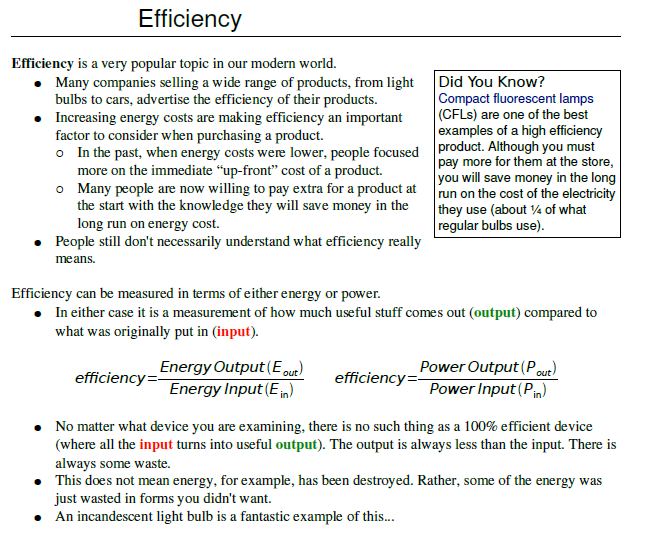 Efficiency notes with solved example,nda,iit,aieee,