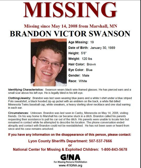 Brandon Swanson: Missing from Minnesota | Missing Persons of America