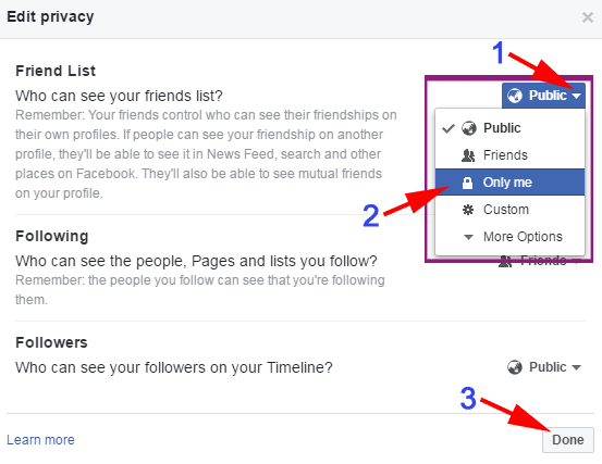 Hide Facebook Friends List on PC