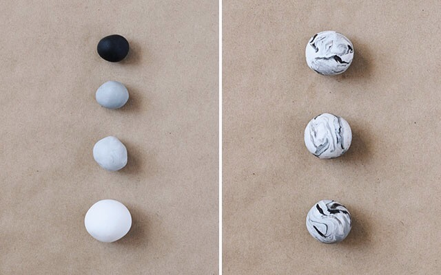 DIY name card holders: Use variants of gray to make marbled clay