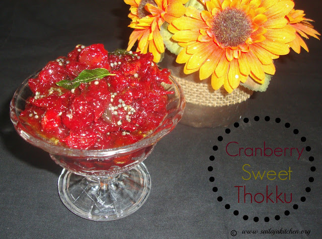 images of Cranberry Sweet Thokku / Cranberry Jam / Cranberry Relish