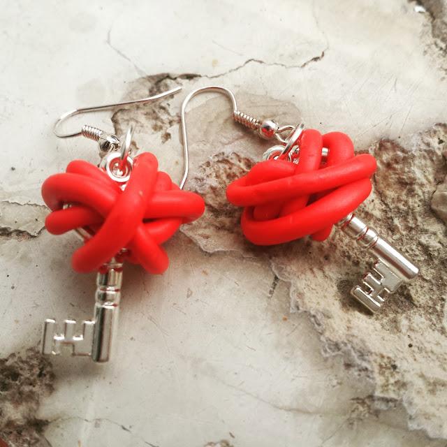 orecchini chiave e fimo
