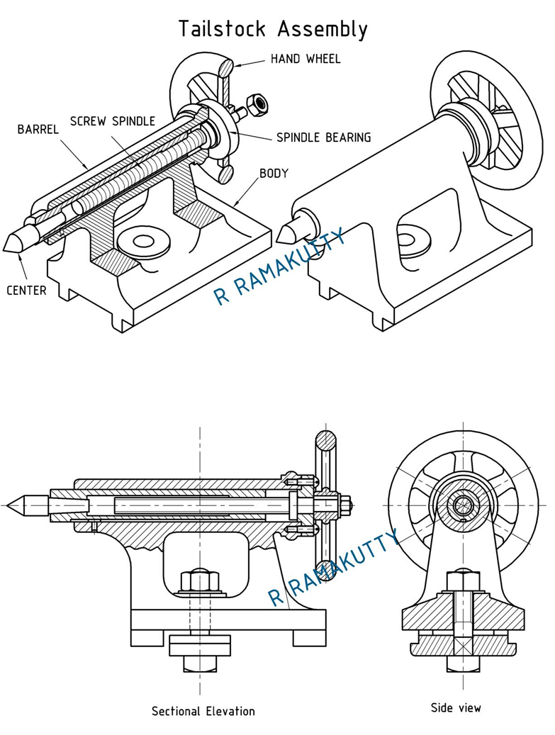 Machine Drawing: Tailstock of Lathe