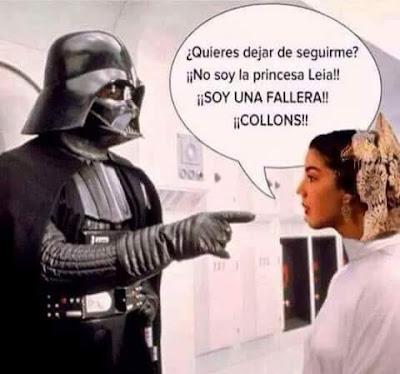 Darth Vader, fallera, princesa Leia, collons