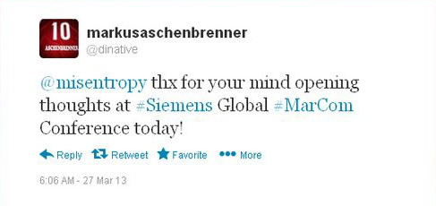 Siemens Global Marcomm Conference Munich Keynote address