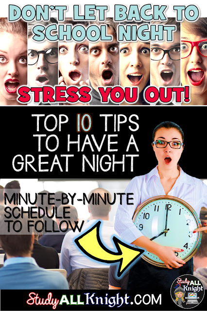 If thinking about Back to School Night makes you break into a cold sweat, don't worry! These ten tips and minute-by-minute schedule will make it painless! Being positive may seem like an obvious tip, but the other nine are sure to help the evening go off without a hitch. Click through to see how you can use these tips at ANY grade level - preschool, Kindergarten, 1st, 2nd, 3rd, 4th, 5th, 6th, middle school, and even high school.