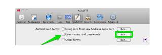 Safari Usernames and passwords settings