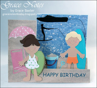 Beach Buddies birthday card, birthday girl and big brother all set for a fun day at the beach.