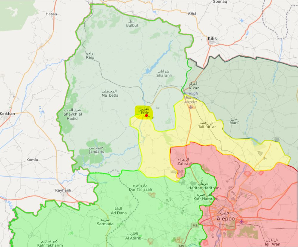 turkish and allied syrian rebel forces green enter afrin