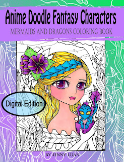 Anime Doodle Fantasy Characters Mermaids and Dragons coloring book