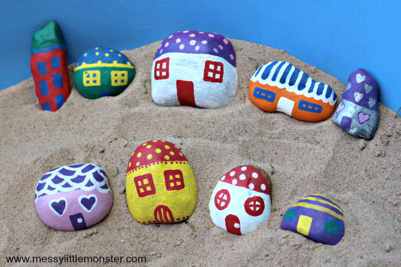 How to make painted rock fairy houses - easy rock painting ideas for kids