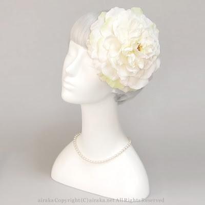 ローズのラウンドプラトー(白)_ウェディングヘッドドレス&花髪飾りairaka