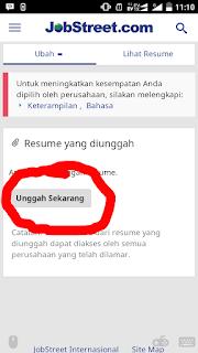 Cara mengunggah resume di jobstreet
