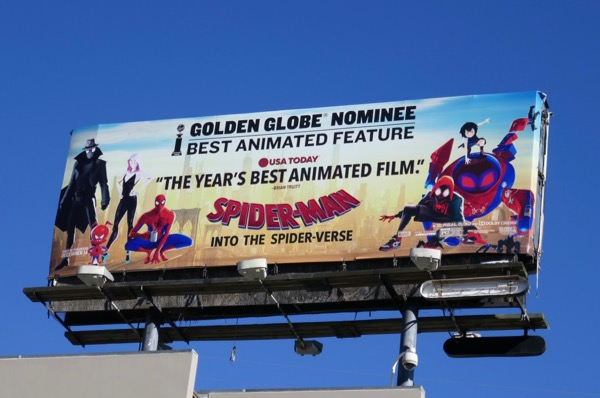 SpiderMan SpiderVerse Golden Globes billboard