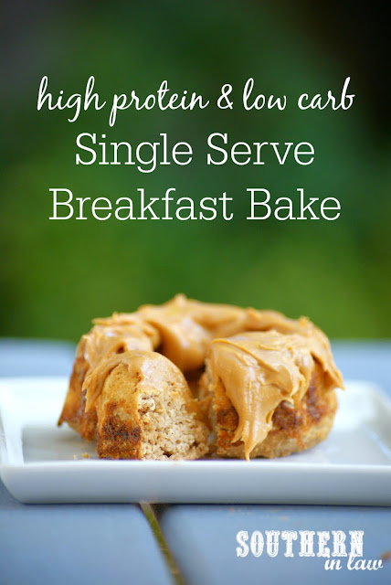 Low Carb Single Serve Breakfast Bake Recipe | high protein, low carb, low fat, gluten free, sugar free, clean eating friendly, single serving breakfast recipe
