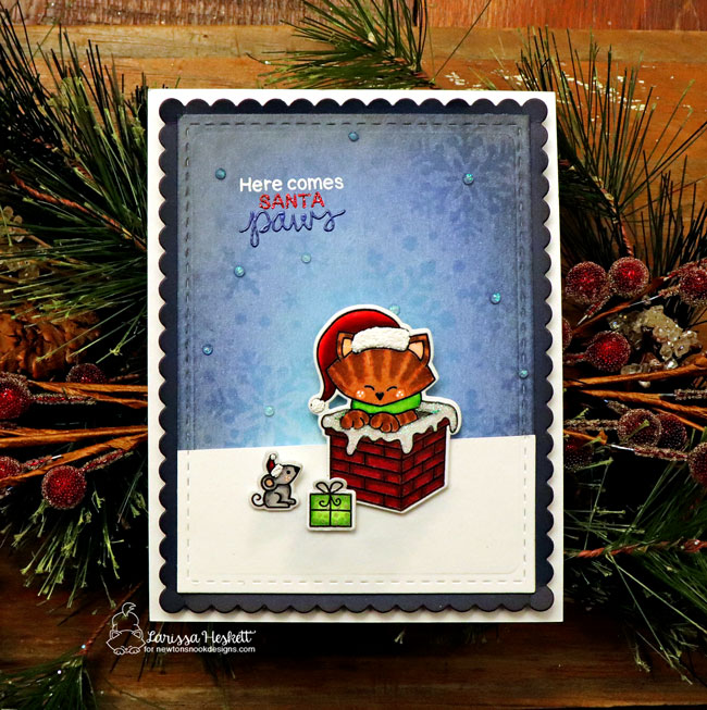 Here Comes Santa Paws Card by Larissa Heskett | Santa Paws Newton Stamp Set by Newton's Nook Designs #newtonsnook #handmade
