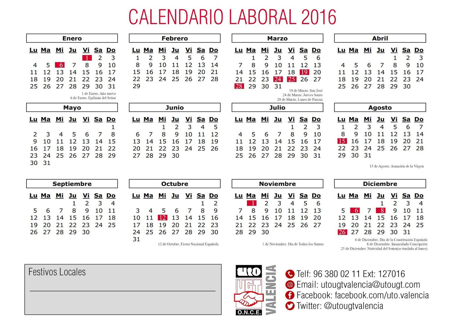 Calendario Laboral De Valencia.Uto Ugt Valencia Calendario Laboral Comunidad Valenciana 2016