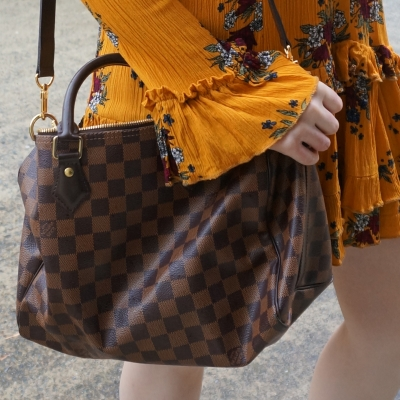 Louis Vuitton Damier Ebene 30 speedy bandouliere bag | away from the blue