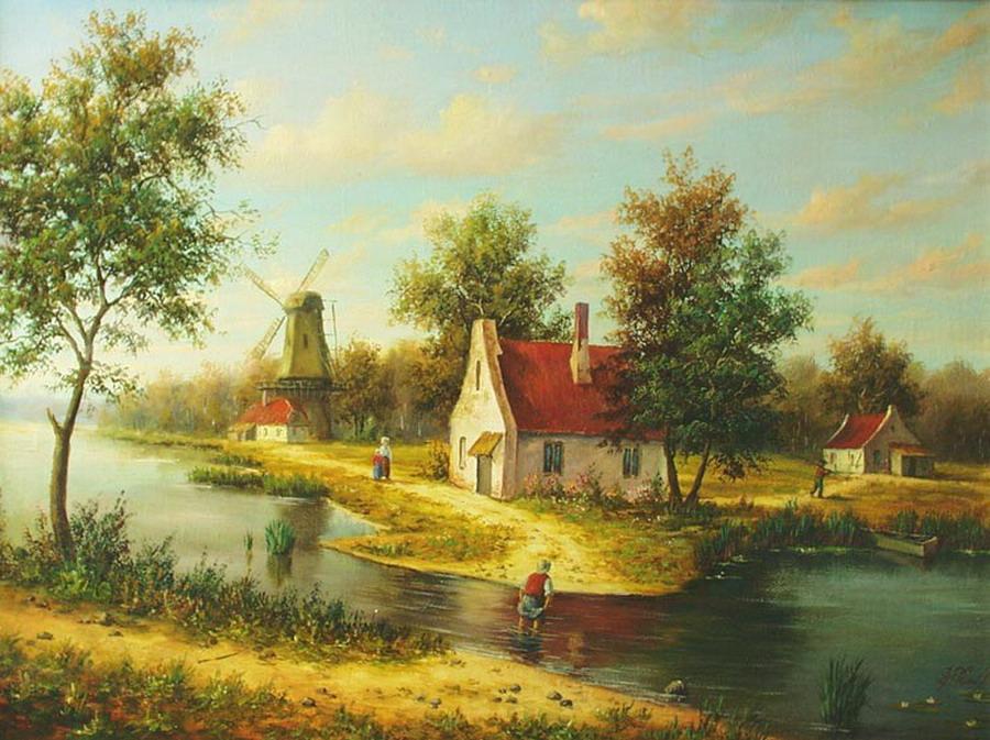 Cuadros modernos pinturas y dibujos nuevos paisajes del - Cuadros de casas de campo ...