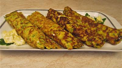 Palačinke od tikvica s nadjevom od sira i vrhnja / Zucchini pancakes stuffed with cheese and cream