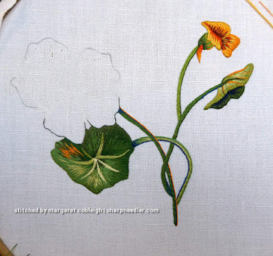 Everything embroidered except the thread painted main nasturtium flower. (Catherine Laurencon Capucines (Inspirations))