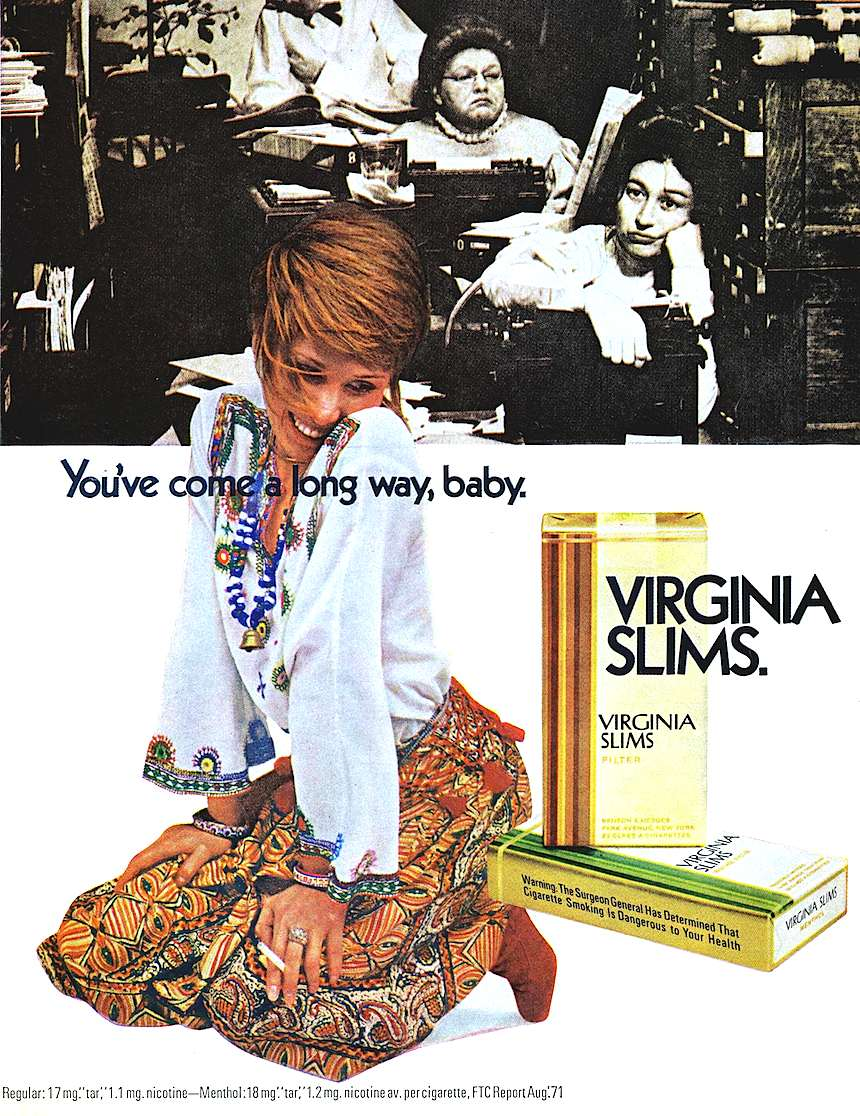1971 Virginia Slims cigarettes, You've come a long way baby, womens' lib