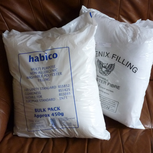 Two bags of polyester fibre fiber fill toy stuffing filling for making plushies