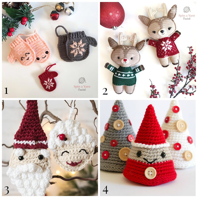 4 Cute Christmas Crochet Ornaments – free patterns