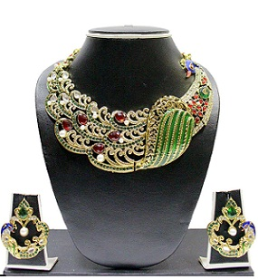 Zaveri Pearls Splendid Peacock Necklace Set for Women
