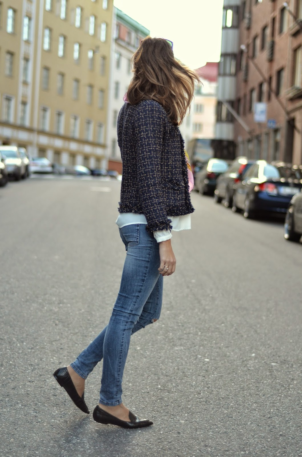 blue-sheinside-tweed-jacket-zara-jeans-mango-croc-pointed-flats