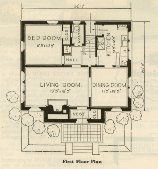 catalog image of layout of first floor of Sears Dover 1930