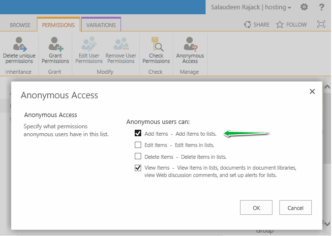 sharepoint 2013 anonymous access add items
