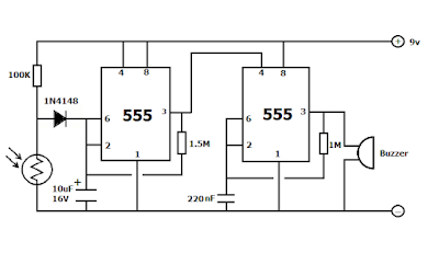 Fridge door alarm circuit with delay time