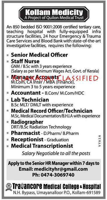 Kollam Medicity Job Vacancies Gulf Jobs For Malayalees