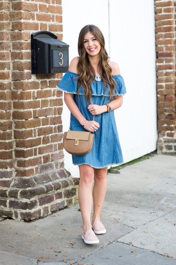 Off Shoulder Chambray Dress