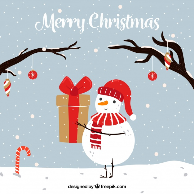 Hand drawn merry christmas with snowman Free Vector